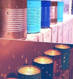Des boîtes de conserve transformées en lumignons                              …
