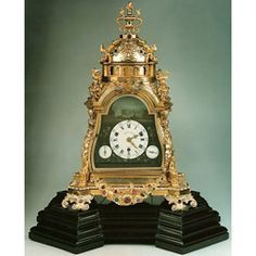 Rare 1780 small musical automaton clock in gem and silver