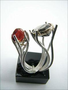 Ring | Suarez Patricia Alvarez.   Sterling silver, 18 kt gold, mexican opal,smoke quartz
