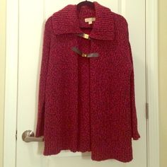 Michael Kors red marbled sweater Gorgeous Michael Kors red marbled sweater! Worn once, in excellent condition! Cotton/acrylic blend. Black leather clasps with gold hardware. Can be worn open or closed. MICHAEL Michael Kors Sweaters