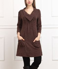 Loving this Brown A-Line Pocket Dress on #zulily! #zulilyfinds    Fall-to-Winter Shift