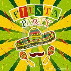 Invitación mexicana del partido de la fiesta con maracas, el sombrero y el bigote Cartel dibujado mano del ejemplo del vector