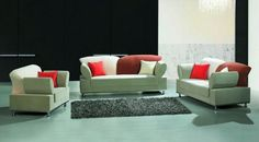 Multi-Colored Contemporary Fabric Living Room Set - Click Image to Close