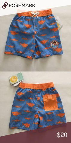 Disney Finding Nemo orange blue shark swim trunks New with tags. Elastic waistband with liner. 18-24m. Disney Swim Swim Trunks