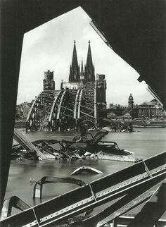 Hohenzollern Bridge, Cologne 1945 — Karl Hugo Schmolz - The History Gen World History, World War Ii, Old Pictures, Old Photos, Cologne Germany, Frozen In Time, History Photos, Interesting History, Historical Pictures