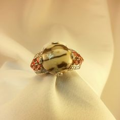 Gorgeous Peanut Wood Jasper Ring This gorgeous peanut Jasper (Rnd 8.00 Ct),  with Jalisco Fire Opal, Diamond ring is a beauty in Platinum Overlay Sterling Silver Nickel Free and is one of a kind, you won't find any other one like it. Perfect selection to add to your collection. Jewelry Rings