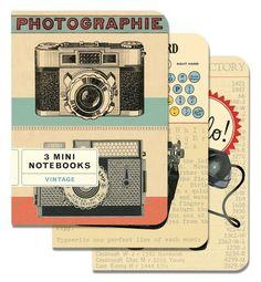 Cavallini Mini Notebooks Vintage TYPEWRITER CAMERA PHONE 4x5, Set of 3 Different #cavallini