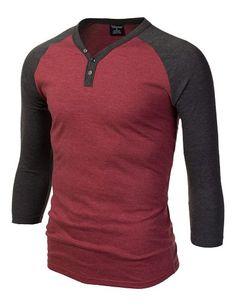 Mens Henley Neck Raglan T-Shirt #doublju