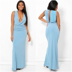 Blue Maxi Prom Dress Long Gown Open Back Plunge Neck Size 4 Prom Party Wedding #Unbranded #MaxiDress #Party