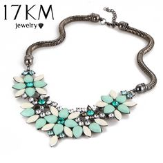 17KM Brand designer New sell Fashion Retro style Colorful gem rhinestone flower choker necklace Statement jewelry women >>> See this great product.