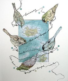 lustik:    juliamckenzieartist:    This is something special for my brother. I have created a few of these bird destination pieces for commission and for very special friends and family  . Each drawn collage is unique using antique maps and atlas's . Each bird depicts a  place that is special to the person or people the piece is created for.
