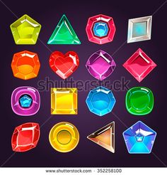Cartoon colored stones with different shapes for use in the game vector - stock vector