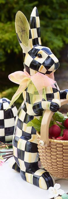 MacKenzie Childs Courtly Checkered Easter Bunny