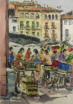 Mercat de Vic, Barcelona. Joaquim Francés -ink & watercolor-