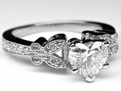 Heart Shape Diamond Butterfly Vintage Engagement Ring