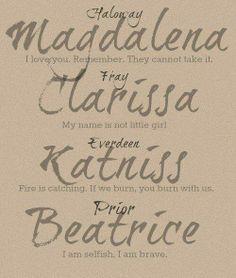 DELIRIUM / MORTAL INSTRUMENTS / HUNGER GAMES / DIVERGENT - all amazing book series heroines :)