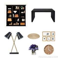 Home Decor Recipes With Ballard Designs Bookcase Black Furniture Threshold Desk Lamp And Asian Rug From September 2016 #home #decor