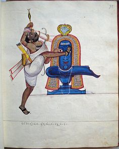 Opaque watercolour painting of the hunter Kannappa, 'the one who gave the eyes' wearing sandals, dressed in a short garment and armed with bow, a quiver and a basket hanging from his right shoulder. A five-headed cobra extends its hoods above the linga, adorned with numerous garlands and decorated with a tripundra (three horizontal lines). One eye of the linga is visible, while the other is obscured by Kannappa's shod foot. Kannappa holds an arrow above his eye, held by the arm of Śiva…