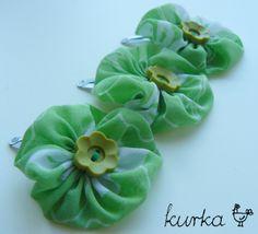 spinki handmade by kurka - zielone kwiaty