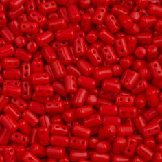 Czech Rulla 3x5mm Two Hole Beads Opaque Red 15g 93200