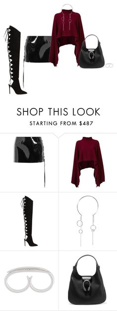 """""""Untitled #1223"""" by biancateicu ❤ liked on Polyvore featuring Anthony Vaccarello, Rosetta Getty, Alexandre Vauthier, Ryan Storer, Shaun Leane and Gucci"""
