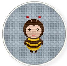 A cute baby bee,Buy 4 get 1 free Cross stitch pattern PDFbaby by danceneedle, $3.50