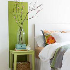 Wake up a tired bedroom wall by painting a bedside banner behind a nightstand. For a striking tone-on-tone effect, paint the nightstand a lighter shade. Dream Bedroom, Home Decor Bedroom, Bedroom Wall, Living Room Decor, Living Spaces, Living Rooms, Cosy Interior, Interior Walls, Creative Home