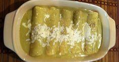 Fabulosa receta para Enchiladas verdes como en Guadalajara . En esta ocasión no las adorné, solo las rellené con papa y su salsa, quedan muy sabrosas.