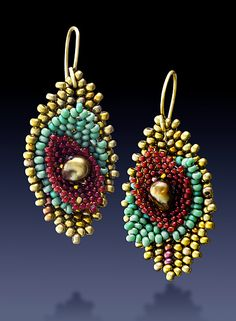 3-Stack Leaf Earrings: Julie Powell: Beaded Earrings - Artful Home Note: color and orientation.