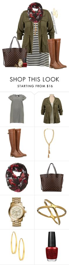 """Plus Size - Stripe Dress"" by alexawebb ❤ liked on Polyvore featuring Panacea, Fat Face, Louis Vuitton, Michael Kors, Allison Daniel, Arena CPH, OPI, outfit, plus and size"