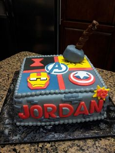 Keri's Kreations Super Hero Cake Avengers Iron Man Black Widow Thor Captain America Cakes For Boys, Boy Cakes, Avengers Birthday, Superhero Cake, Birthday Parties, Birthday Cakes, Cake Tutorial, Little Miss, Special Occasion