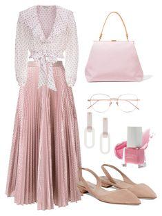 """Pink Ruffle Dress"" by vangie-yu on Polyvore featuring Christopher Kane, Temperley London, Mansur Gavriel, Rachel Comey, Linda Farrow, Spring, DateNight, Pink, dress and ruffles"