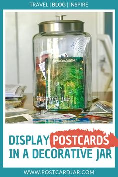 We use postcards in a jar to make a fun, unique decoration for our home that is filled with memories of our travels. See how and why we do this at this post. A great addition to any decor, we think everyone should have their own postcard jar. Vacation Memories, Travel Memories, Italy Travel, Us Travel, Bar Displays, Decorated Jars, Travel Themes, Travel Decorations, Jaba