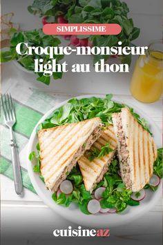 Une recette de croque-monsieur light au thon prête en 5 minutes. #recette#cuisine#croquemonsieur#thon #recettelight #cuisinelight Tuna Salad, Lettuce, Lamb, Food Photography, Sandwiches, Bread, Ethnic Recipes, Planning, Drink