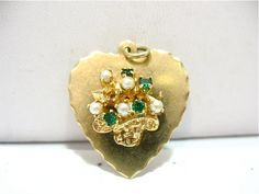 Very Large 14K Gold Emerald Pearl Basket Heart Charm Pendant, via Etsy.