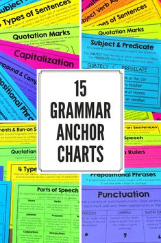 These grammar posters and anchor charts are a great tool to help teach and reinforce important grammar vocabulary and concepts. There are a ton of different printing options included so you can print exactly what you and your students need. Grammar Posters, Grammar Rules, Teaching Grammar, Grammar And Vocabulary, Help Teaching, Teaching Writing, Vocabulary Games, English Lessons, Learn English