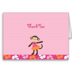 Hula Monkey Luau Thank You Note Cards