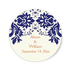 Damask navy blue, coral, wedding Save the Date Round Sticker