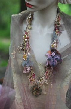 sassy bohemian necklace shabby chic soft layered by FleursBoheme