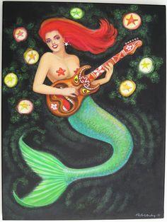 Mermaid art painting Tiki Guitar ORIGINAL pop surrealism mermaids on Etsy, $650.00