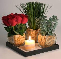 bandeja con centros florales