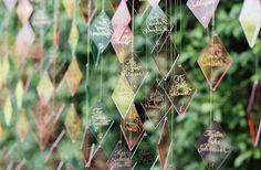 Colorful, diamond-shaped lucite escort cards