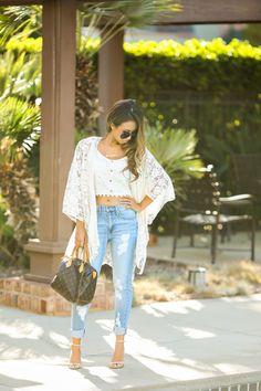 boyfriend jeans + lace