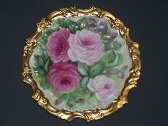 T V Limoges France Antique Plate with Pink Roses Heavy Gold Trim 8 25 Diameter | eBay