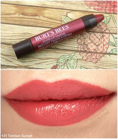 Burt's Bees Gloss Li - February 23 2019 at Lipstick Art, Lipstick Dupes, Lipstick Swatches, Lip Art, Lipstick Colors, Coral Lipstick, Rose Lipstick, Lipstick Shades, Makeup Products
