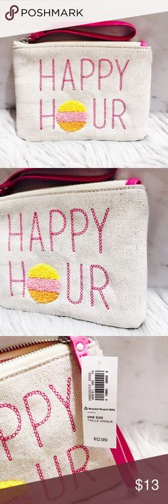 "NWT Happy Hour Graphic Canvas Wristlet Materials & Care 100% cotton, with synthetic lining and trim. Spot clean. Imported.  Product Details Chambray exterior, with embroidered flamingo graphic on one side. Zip-top closure, with faux-leather wristlet strap. Canvas lined interior, with three-panel compartment for credit cards or ID. Approximately 7 1/2""L x 1 1/2""W x 5 1/2""H, with 5"" wristlet strap. Bags Clutches & Wristlets"