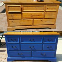 Pine dresser turned into inspired Golden State Warrior color dresser for son. Chalk paint before and after.  Follow IG @DIY.VINTAGE.LUV