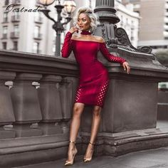 Ocstrade Womens Autumn Long Sleeve Bodycon Dress 2017 Clubwear Party Burgundy Lattice Sexy Off Shoulder Bandage Dress Mode Outfits, Sexy Outfits, Sexy Dresses, Fashion Outfits, Womens Fashion, Clubwear, Look 2017, Micah Gianneli, Vestidos Sexy