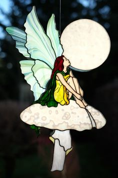 Stained Glass Fairy Stained Glass Angel, Faux Stained Glass, Stained Glass Designs, Stained Glass Projects, Stained Glass Patterns, Stained Glass Windows, Mosaic Art, Mosaic Glass, Fused Glass