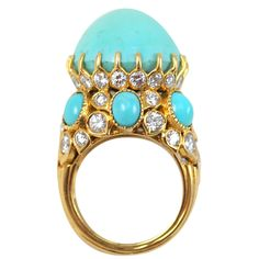 CARTIER PARIS Turban Diamond  Turquoise Ring | From a unique collection of vintage cocktail rings at http://www.1stdibs.com/jewelry/rings/cocktail-rings/